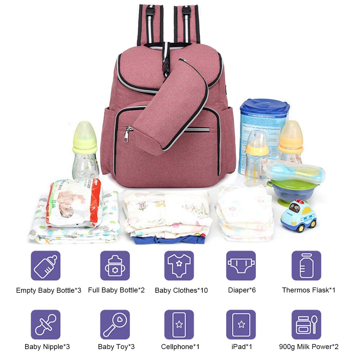 Bolsa de pañales Mochila impermeable, bolsas de viaje con función Mufti, gran capacidad y mochila duradera con correas de cochecito y carga USB: Amazon.es: ...