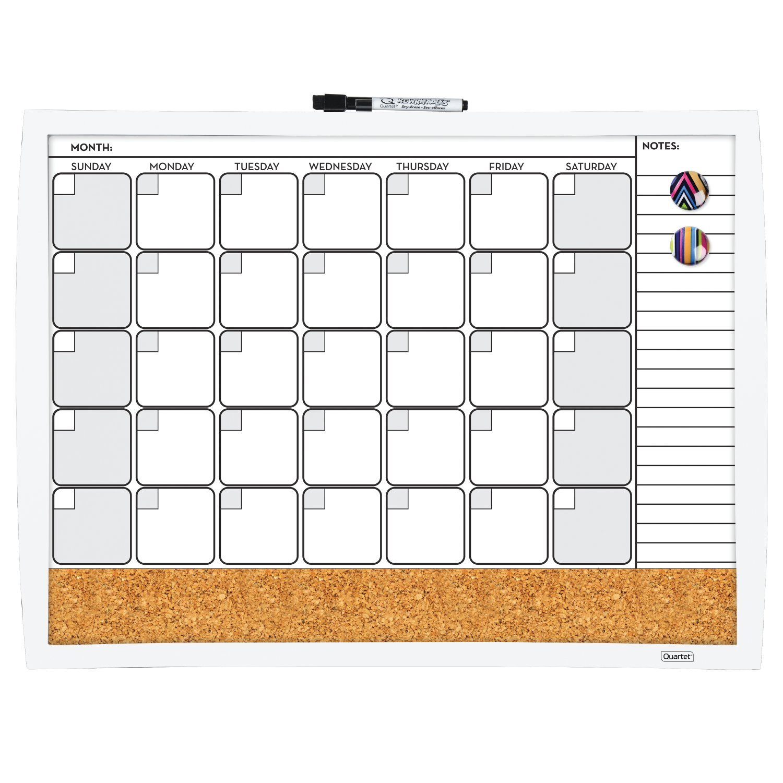 Quartet Magnetic Combination Calendar Dry Erase Board and Cork Board Value Pack, 17 x 23, Black Frame (44202-BK) 17 x 23 ACCO Brands