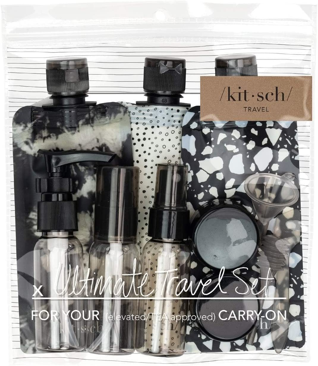 Kitsch Ultimate Travel Bottles Set, Travel Containers - 11pcs (Black & Ivory)