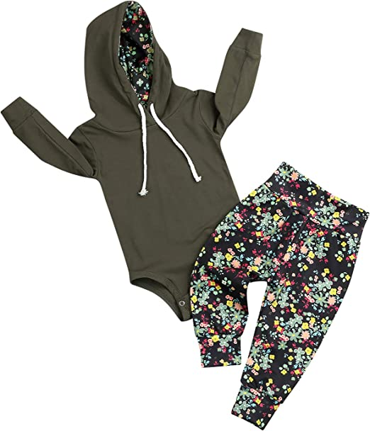 Baby Girl Floral Hooded Sweatshirt Tops Pants Outfits Clothes Set Winter NEW