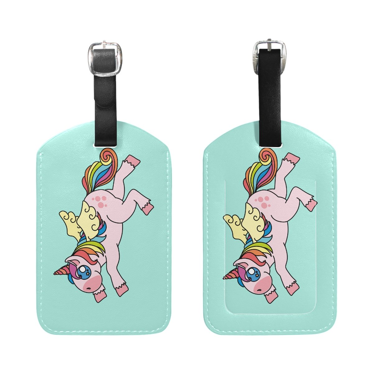 1Pcs Saobao Travel Luggage Tag Colorful Unicorn PU Leather Baggage Suitcase Travel ID Bag Tag