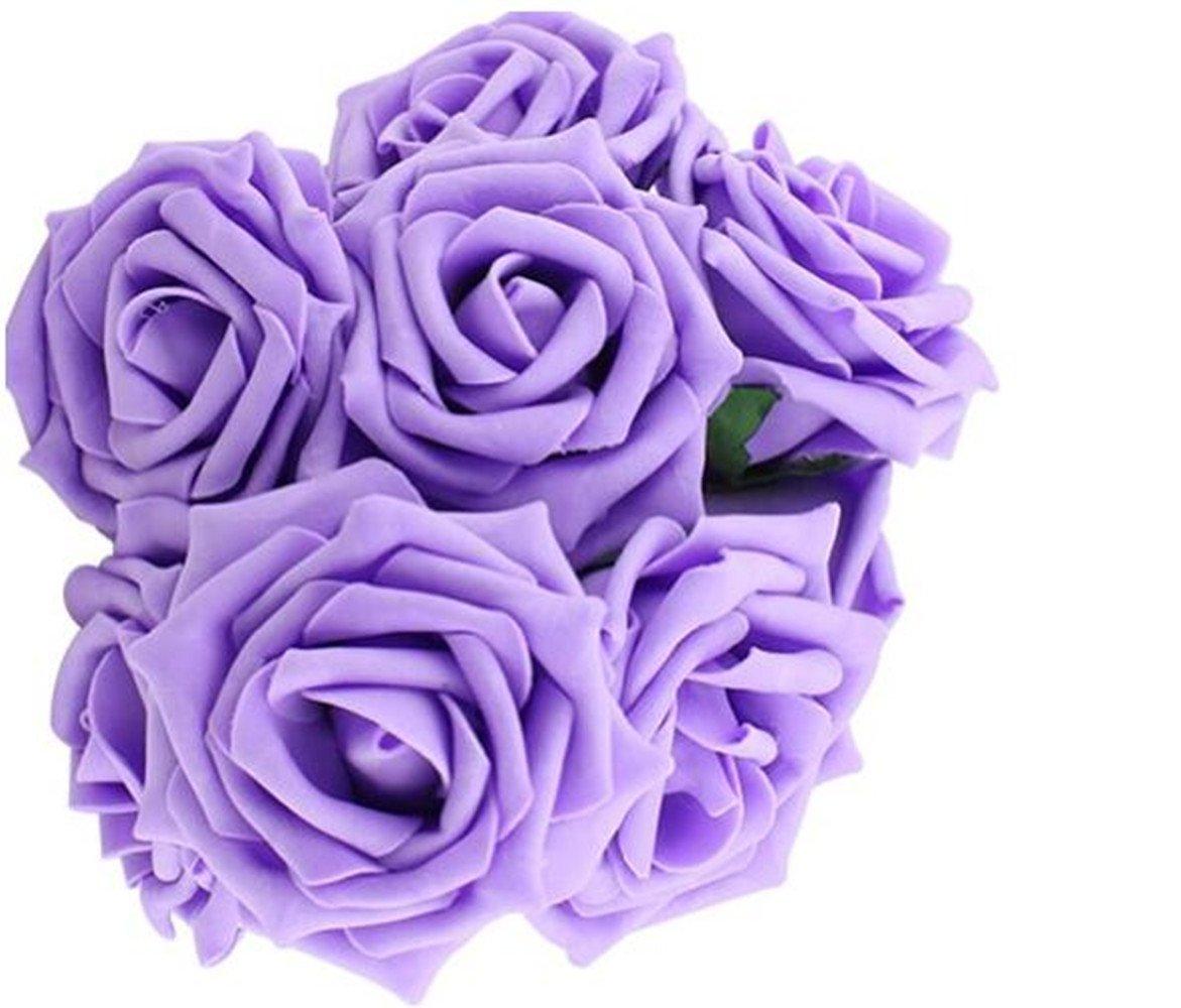 LAAT 10PCS Fashion Foam Rose Beauty Bridal Bouquet Rose Flower Artificial Foam Rose Bouquet PE Floral Flowers DIY Rose Flowers for Wedding Party Decor -7cm (Purple)