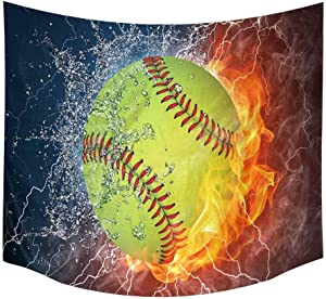 InterestPrint Funny Softball Ball on Fire and Water Tapestry Wall Hanging Tapestries Wall Art Home Decor for Bedroom Living Room Dorm, 60W X 51L Inch