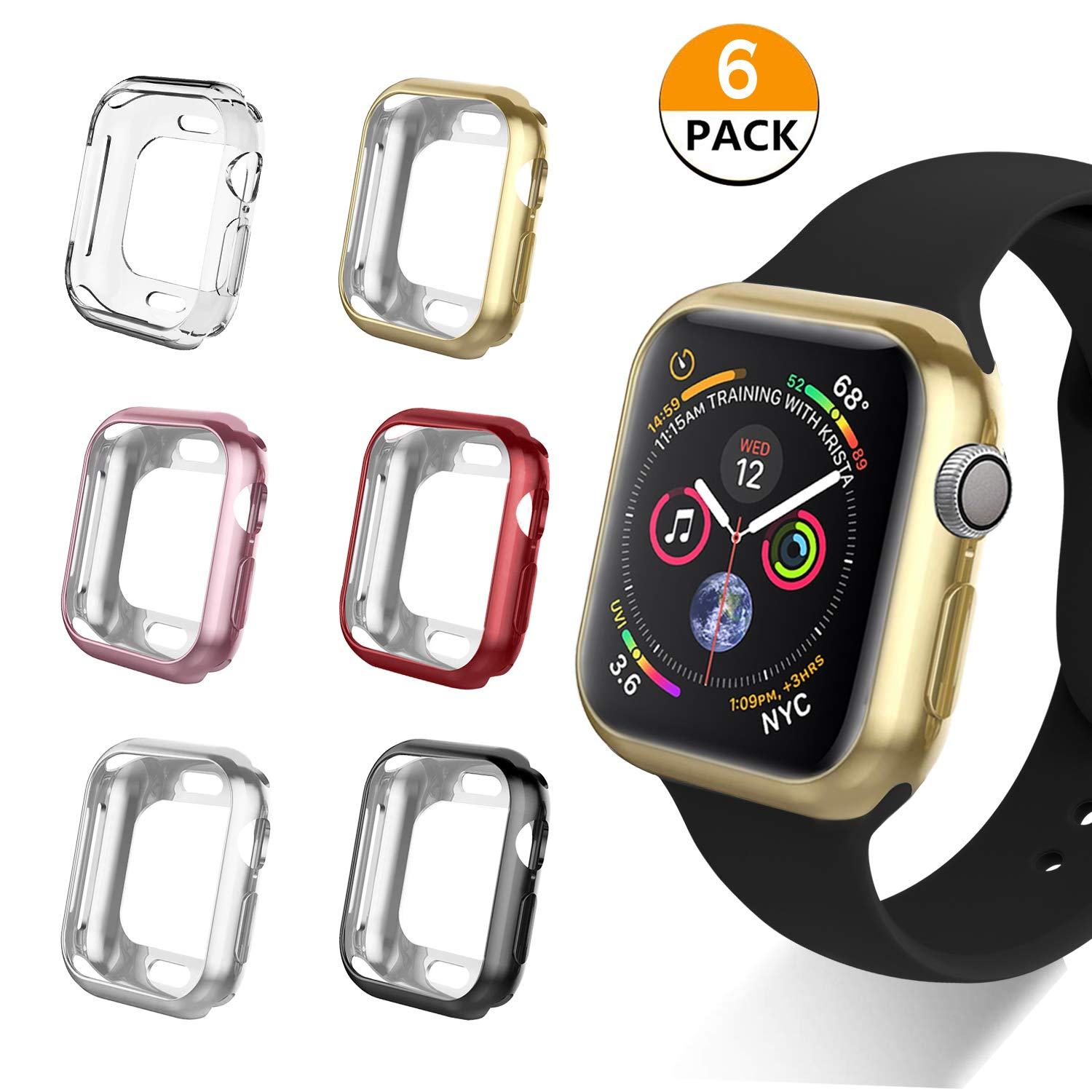 VODKE Compatible with Apple Watch Case Series 4 44mm, Soft TPU Watch Bumper Case Cover Protector Compatible with iWatch Series 4 Pack of 6pcs by VODKE