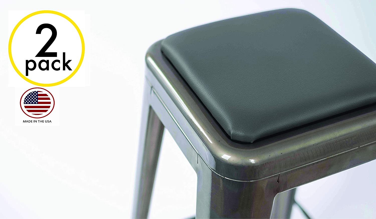 2 Pack Square Stool Cushion for Tolix and Similar Stackable stools (Black) Handmade in USA!