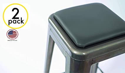 2 Pack Square Stool Cushion For Tolix And Similar Stackable Stools Gray