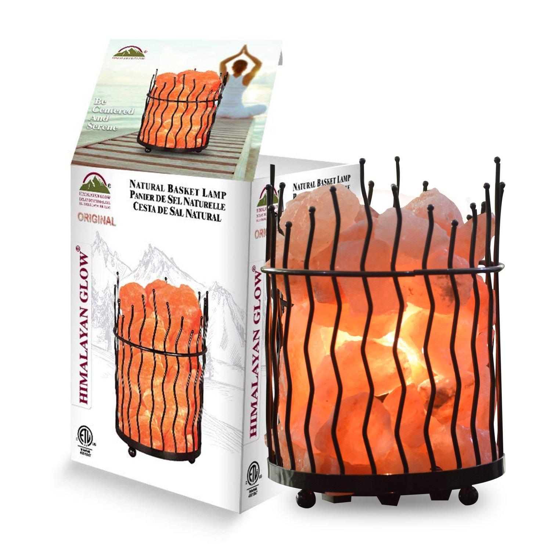 Himalayan Glow 1332 Pillar Salt Basket Lamp, 6-8 lbs, Amber Glow