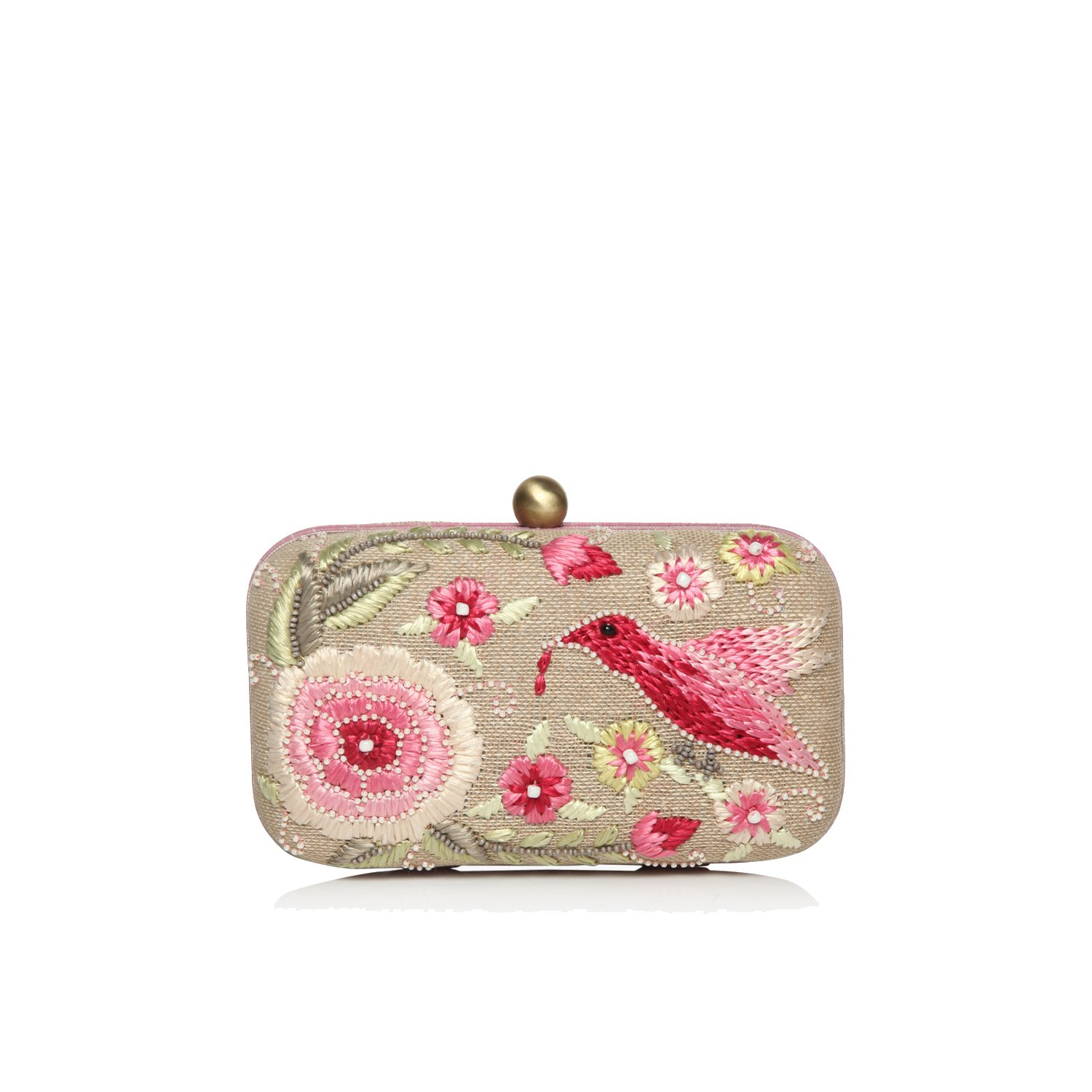 Clutches for Women hard box framed hand embroidered natural multi colored party Evening clutch