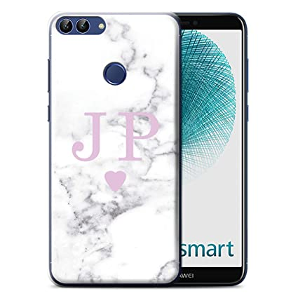 check out ba4f6 8a0e3 Personalised White Marble Fashion Case for Huawei P Smart/Solid Pink ...
