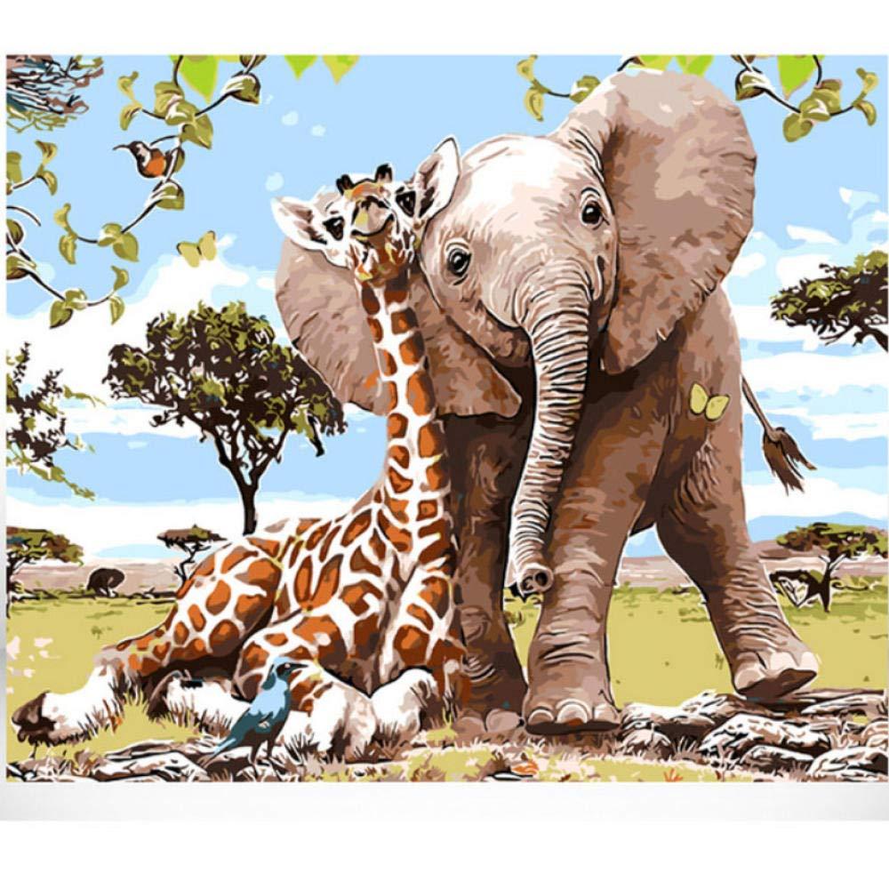 Sans Cadre 60120cm Waofe Girafe Avec éléphant Animal voituretoon Diy Peinture Numérique Par Numéros Mur Moderne Art Toile Peinture Cadeau Unique Accueil - With Frame