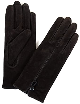 fc0bf91f8 Ladies Suede Gloves with Fleece Lining and Button Design at Amazon Women's  Clothing store: