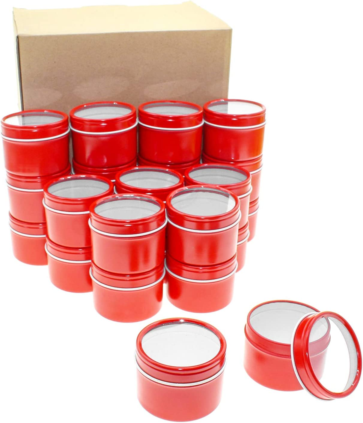 Mimi Pack 24 Pack Tins 1 oz Deep Round Tins with Clear Window Lids Empty Tin Containers Cosmetics Tins Party Favors Tins and Food Storage Containers(Red)