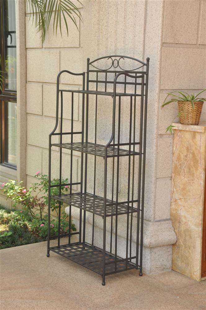 International Caravan 708712 Folding Bakers Rack in Antique Black