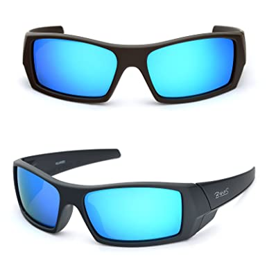 749ca7dcdda tItaly made corning glass lenses blue mirrored sunglasses for men (Black  Rubber Blue Mirrored