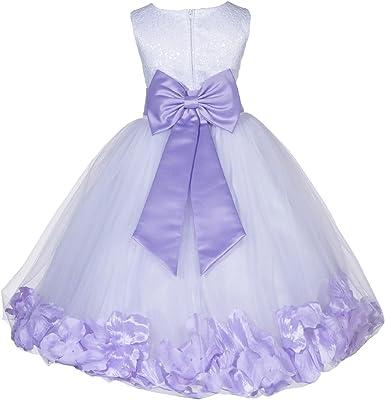 Vestido De Tul Blanco Con Flores Para Niña Boda Desfile Encaje Floral Superior Pétalos De Rosa 165t Clothing