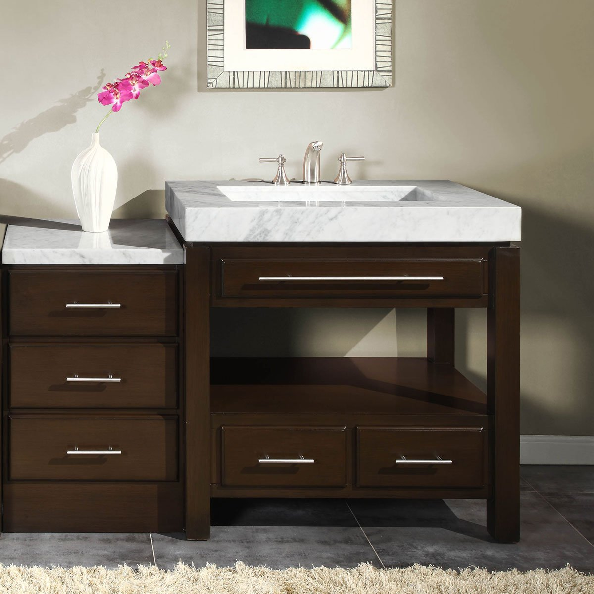 Silkroad Exclusive Marble Top Sink Bathroom Vanity with Modern Furniture Cabinet, 56-Inch