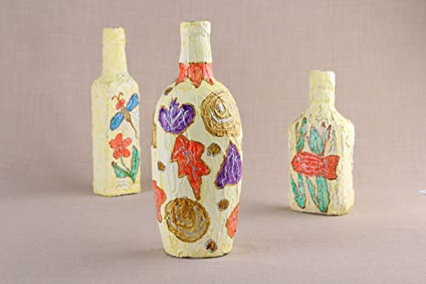 Botella de cristal decorada