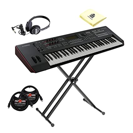 Yamaha MOXF6 Semi Weighted 61 Keys Keyboard Synthesizer with MOTIF XF Sound  Engine and Flash Memory in Black with Keyboard Stand, Stereo Headphone, 2