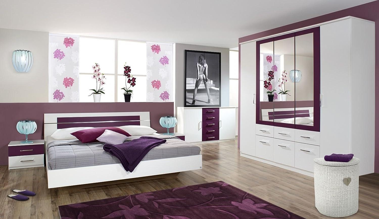 rauch Schlafzimmer Burano, 4-teilig weiß/brombeer weiß/brombeer, BETT160X200,SCHRANK271/212/56