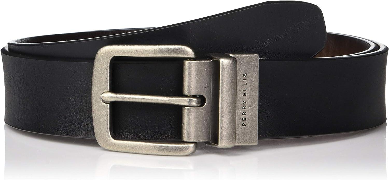 Perry Ellis mens Perry Ellis Portfolio Cut Edge Reversible Casual Belt 38mm Belt