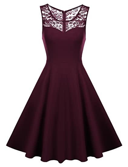 HOTOUCH Women s Sleeveless A-Line Evening Party Lace Cocktail Dress (Wine  Red ... 2dbdc2c6e