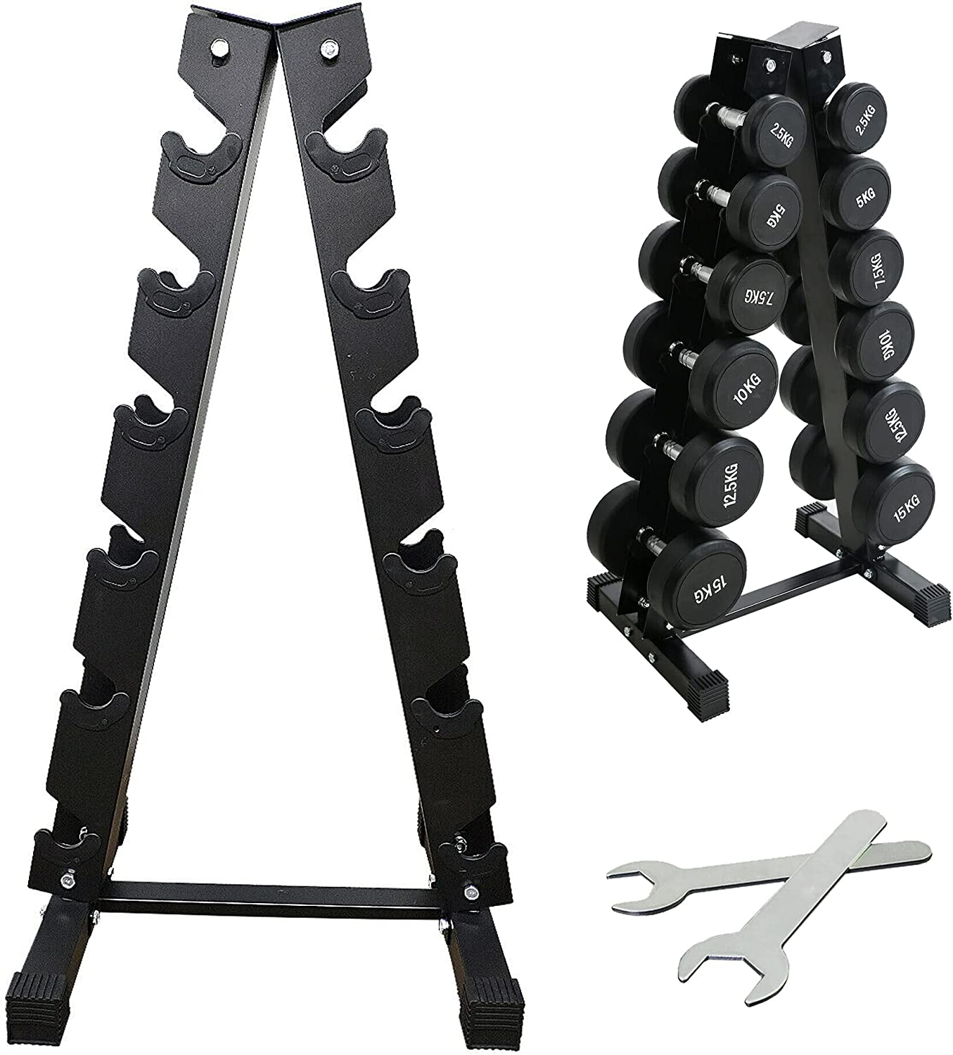 CHPPEY 6 Tier A-Frame Dumbbell Rack Stand Only - Weight Rack for Dumbbells, Weight Organizer Storage Rack for Home Gym (Weight Capacity: 500lbs)