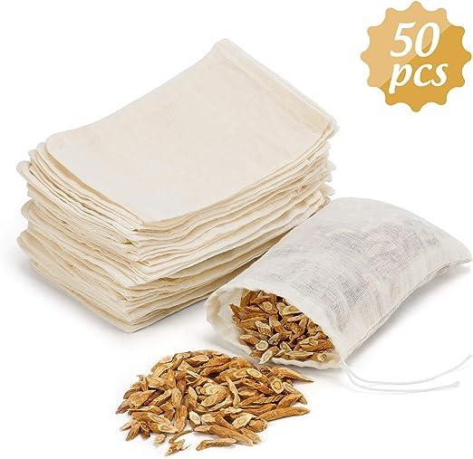 QKURT Paquete de 50 bolsas de muselina de algodón, bolsa de bolsita de muselina reutilizable - Bolsas de hilo de algodón 100% para bodas/fiesta/decoración/almacenamiento/filtración (4 x 6): Amazon.es: Hogar