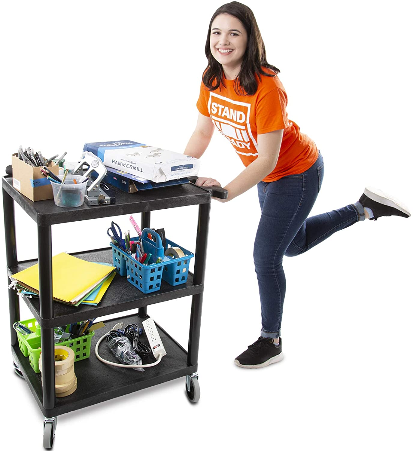 Tubstr Printer Cart Flat Shelf, Compact and Heavy-Duty Storage Cart – Supports up to 300 lbs – Great for Home, Office, Warehouse and More Black 28 in x 18 in