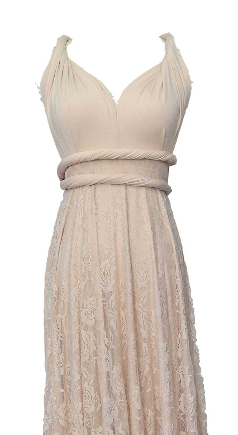 Full Length Convertible Bridesmaids Dress in Champagne with lace overlay