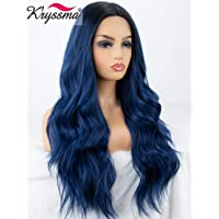 K'ryssma Blue Ombre Lace Front Wig Glueless Long Wavy Dark Blue Synthetic Wig with Dark Roots Middle Parting Ombre Lace Wig Heat Resistant 22 inches