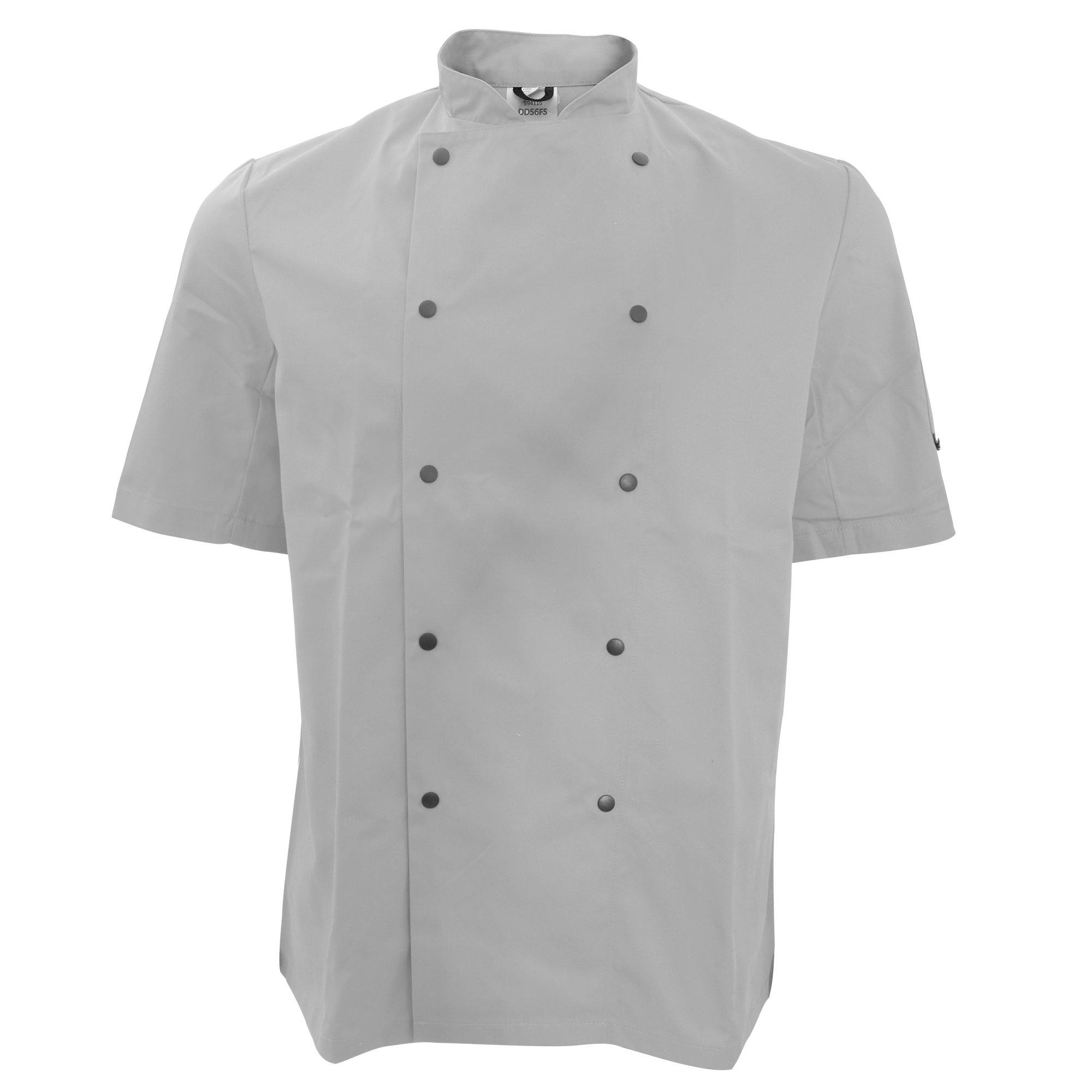 Dennys Unisex Short Sleeve Stud Button Chef Jacket (S) (Light Grey)