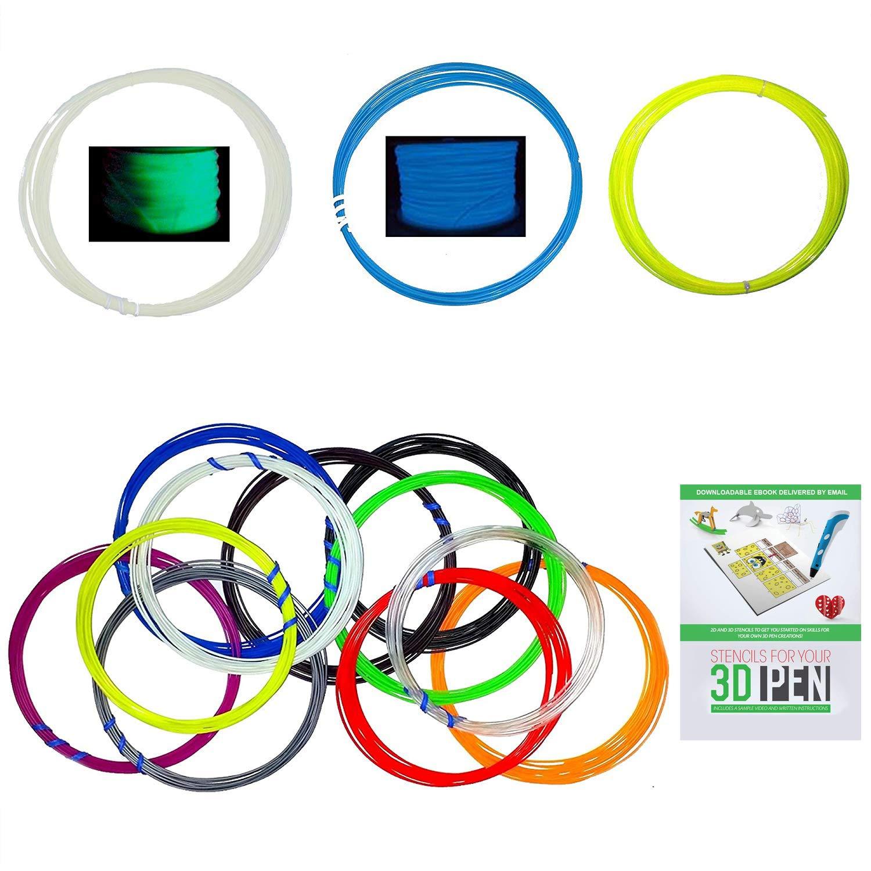 20 Feet Per Color With 12 Colors ABS 1.75mm Filament 3D Printer Pen Refill Pack
