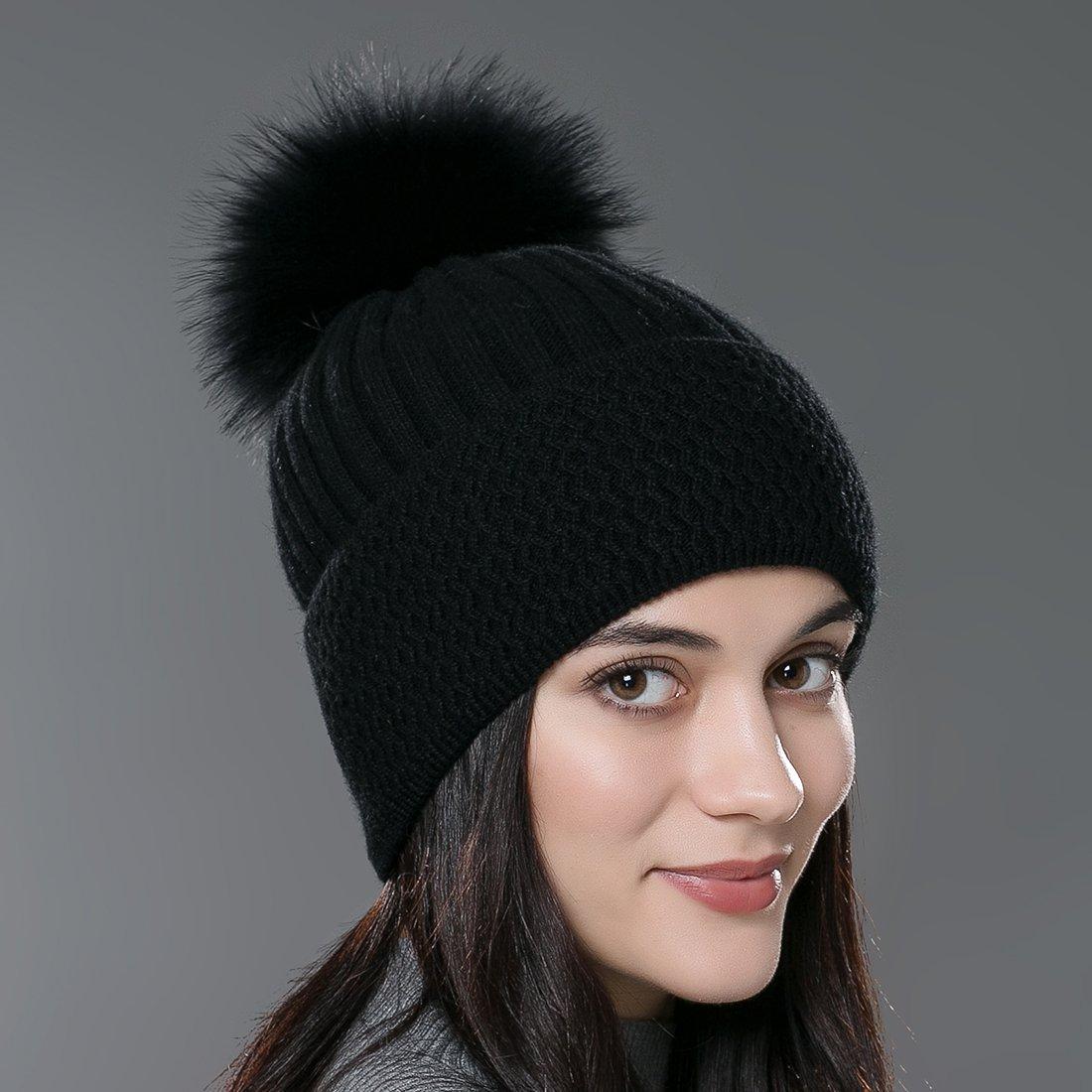 0ef9c3a8838c8 URSFUR Autumn Knit Cap with Fur Ball Pom Pom Beanie Unisex Winter Hat CA-YQ  larger image