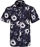 ELETOP Men's Hawaiian Shirt Short Sleeve Aloha Beach Party Shirt Casual Shirt
