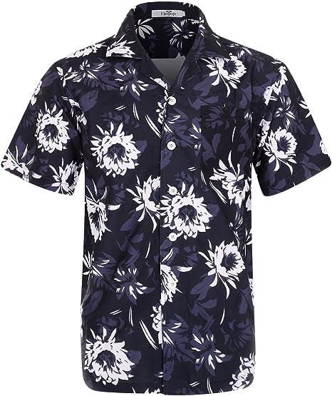 Top beach floral printed mens casual shirt hawaiian shirt short sleeve New