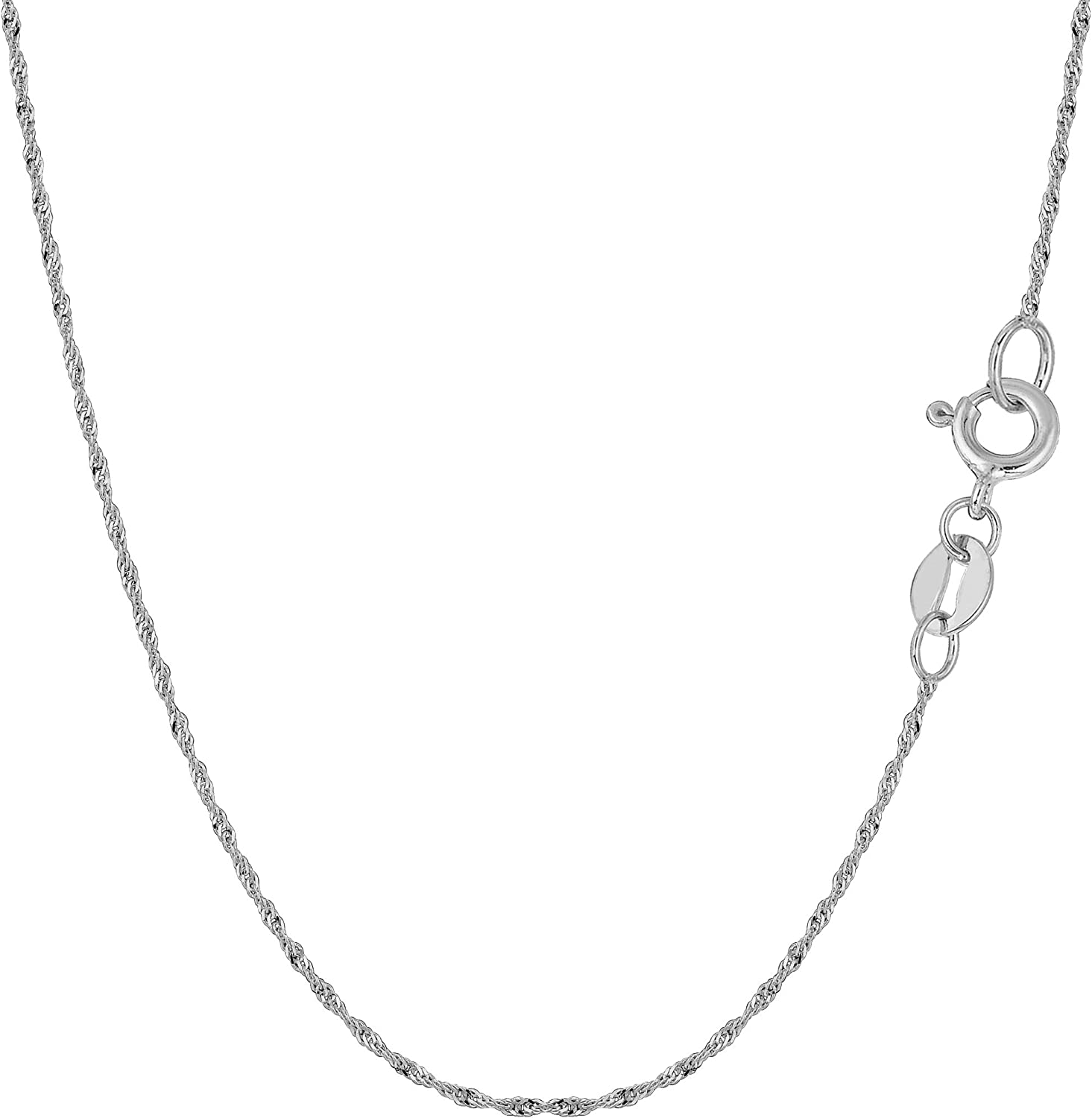 FB Jewels Solid 10K White Gold 1.5mm Machine Made White Gold Rope Chain Bracelet//Anklet