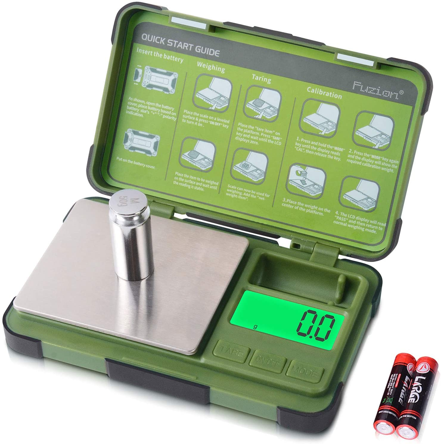 Fuzion Gram Scale 0.1g/1000g, Digital Pocket Scale with 6 Modes Grams and Ounces, Small Herb Scale for Powder, Food, Jewelry
