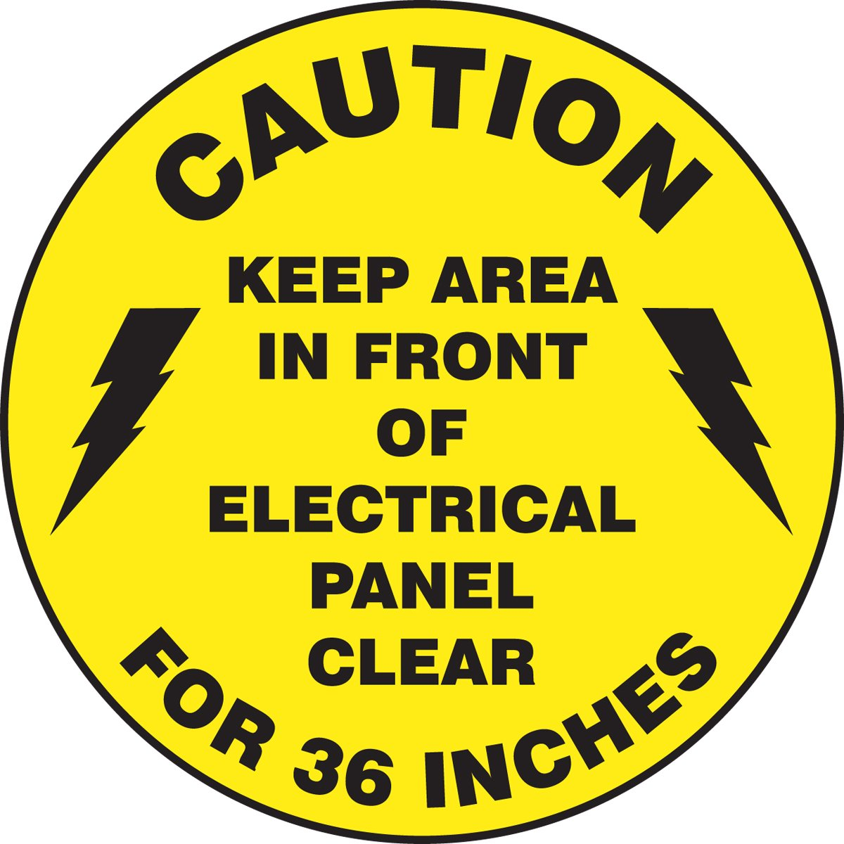 Accuform Signs MFS865 Slip-Gard Adhesive Vinyl Round Floor Sign, Legend''Caution Keep Area in Front of Electrical Panel Clear for 36 INCHES'', 8'' Diameter, Black on Yellow
