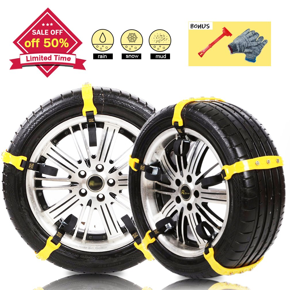 "[PATENTED CHAINS ]Anti-Skid Snow Chains Car Safety Chains, Emergency Traction Adjustable Chains Universal Anti Slip TIRE SNOW MUD Chains10pcs Car,SUV, Truck Width 7.3""-11.7""(185mm-295mm) (Yellow)"