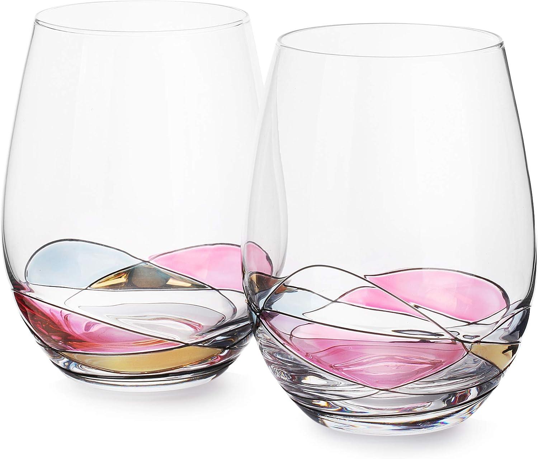 DAQQ Stemless Wine Glasses - Set of 2 Coloured Crystal Hand Painted Stemless Wine Glasses - Dishwasher Safe - 22 Oz Large Glasses for Red and White Wine - Unique Gift - Elegant Gift Box