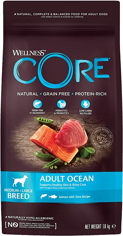 Wellness CORE Ocean Dog Food Dry Grain Free - Salmón y atún, 4 Libras
