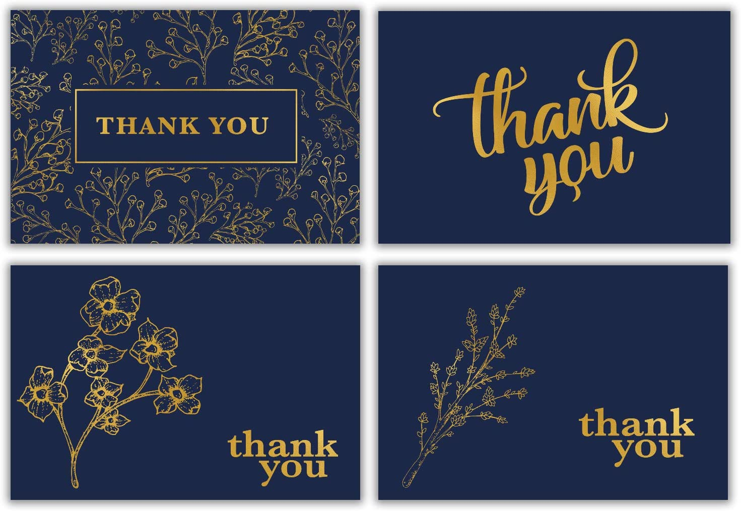 100 Thank You Cards Bulk w/Gold Foil Stickers & White Envelopes – 4x6 Blank Note Cards – Perfect for Weddings, Bridal Showers, Graduation, and Baby Showers