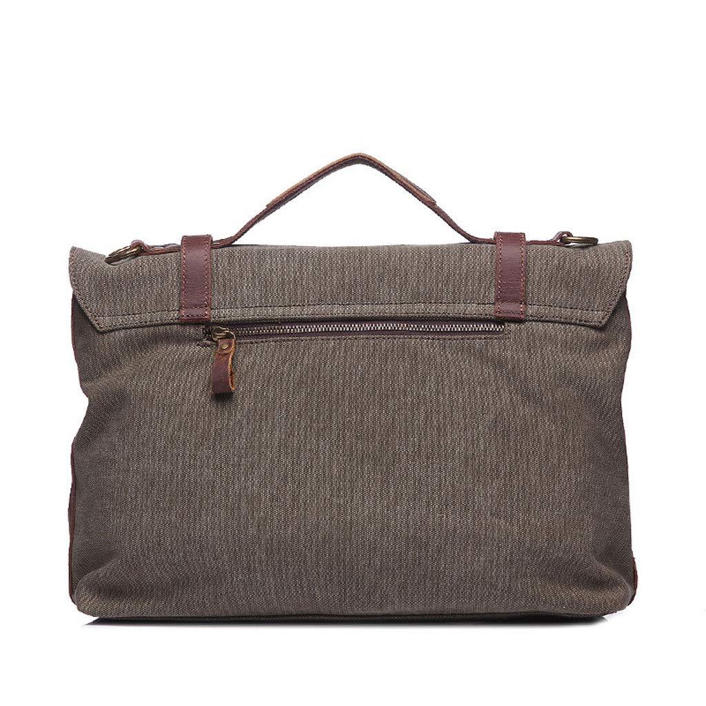 Business Casual Canvas Shoulder Diagonal Laptop Bag Color : ArmyGreen, Size : M YYYTS Mens Fashion Briefcase