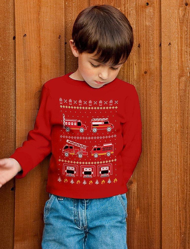 Firetrucks Firemen Ugly Christmas Sweater Toddler//Kids Long Sleeve T-Shirt