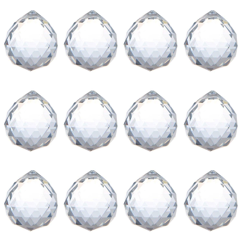 KARSLORA Clear Glass Crystal Ball Prism Rainbow Maker Feng Shui Lamp Hanging Drop Chandelier Pendants Window Suncatchers (30MM Pack of 12)