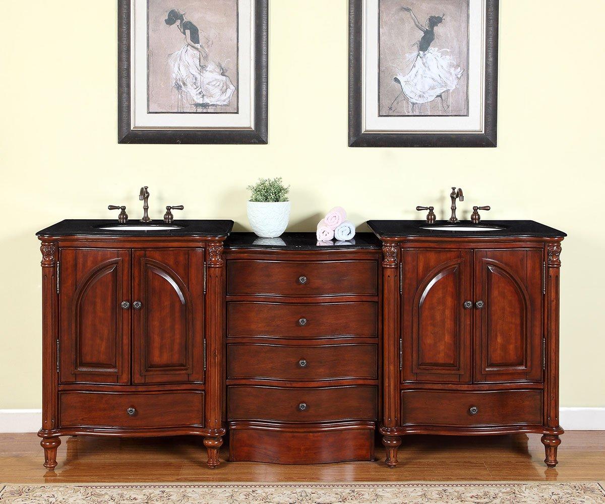 Silkroad Exclusive Countertop Black Granite Double Sink Bathroom Vanity with Cabinet, 83-Inch