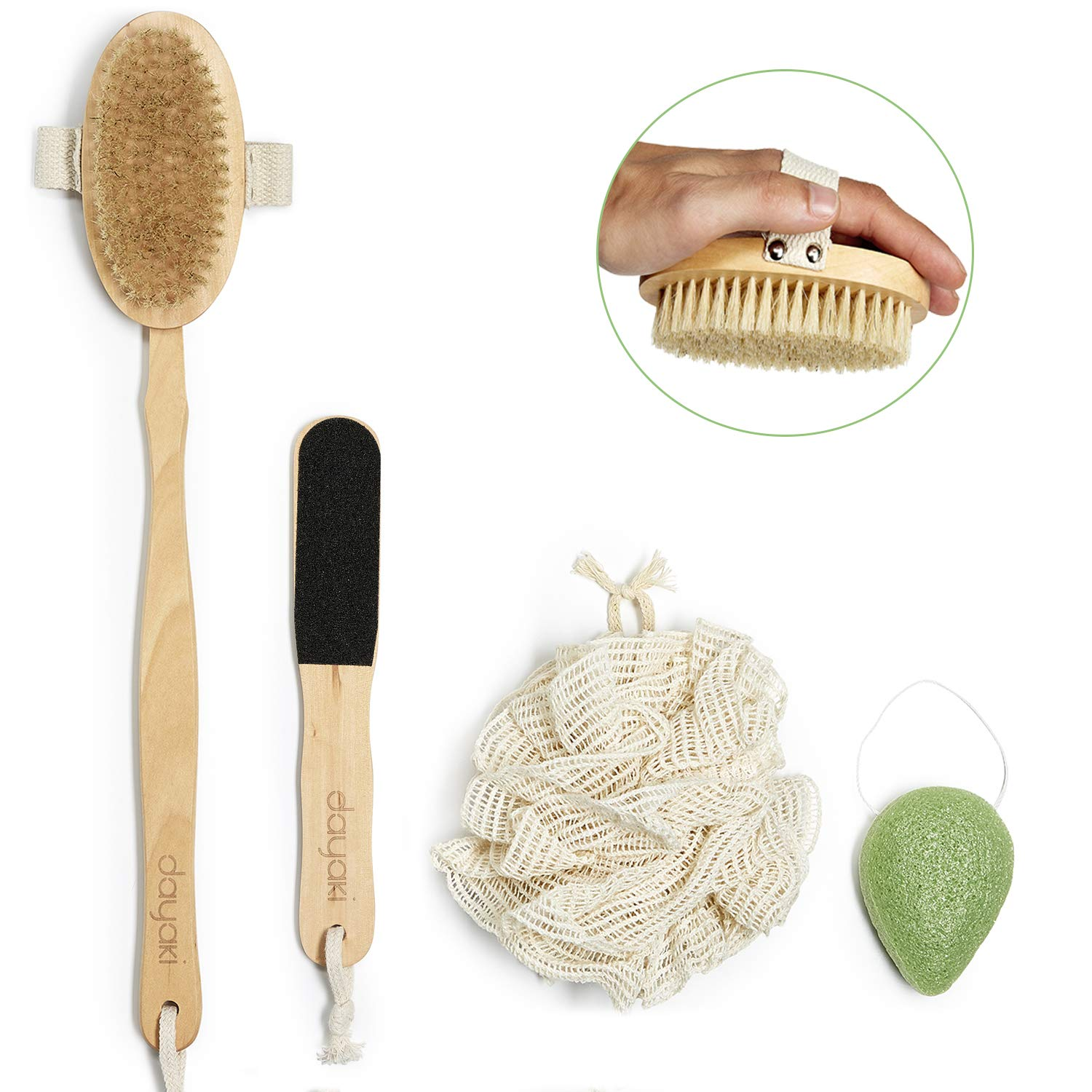 Premium Dry Brushing Body Brush, Cellulite Massager and Lymphatic Drainage. Exfoliating Body Scrub Set All natural, no Plastic, with Konjac Sponge, Foot File and Shower Pouf for Natural Radiant Skin! Dayaki