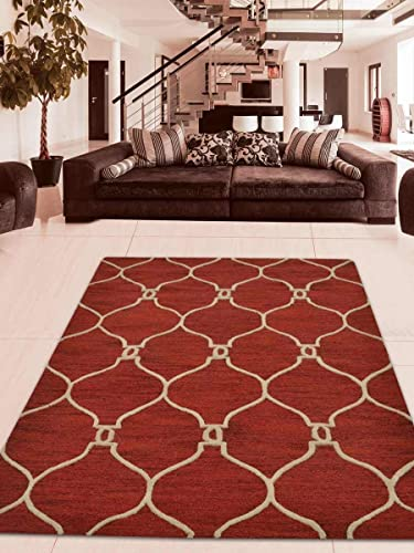 Rugsotic Carpets Hand Tufted Wool 8'x11' Area Rug Geometric Red Beige K01004