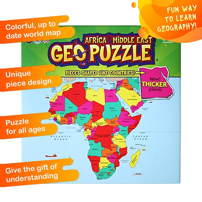 Map Of Africa And Middle East Countries.Geotoys Geopuzzle Africa And The Middle East Educational Kid Toys For Boys And Girls 65 Piece Geography Jigsaw Puzzle Jumbo Size Kids Puzzle