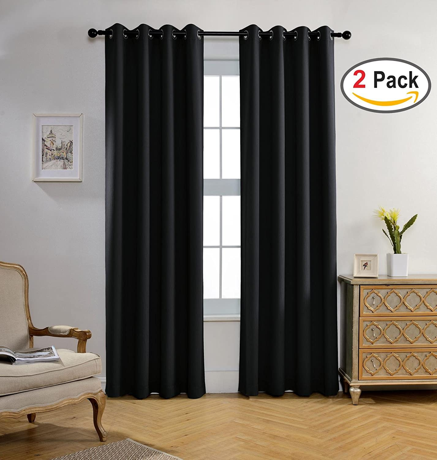 Miuco Room Darkening Texture Look Blackout Curtain Panels for Office Black